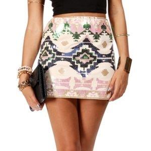 Express Pink Sequin Embellished Tribal Boho Skirt